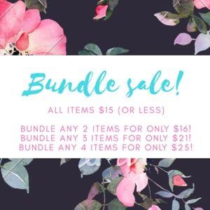 BUNDLE SALE!!! All $15 or less, 2/$16 3/$21 4/$25